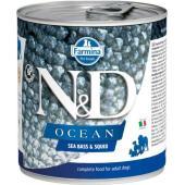 N&D Ocean консервы для собак сибас с кальмаром