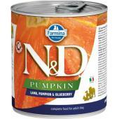 N&D Pumpkin консервы для собак ягненок с тыквой и черникой