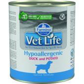 Vet Life консервы для собак гипоаллергеник утка с картофелем (паштет)