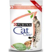 Паучи для кошек с чувствительным пищеварением Кусочки в соусе с лососем икабачками