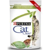 Паучи для стерилизованных кошек Кусочки в соусе сягненком и зеленой фасолью
