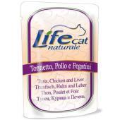 Консервы для кошек с тунцом, курицей и печенью в желе, пауч