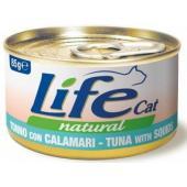 Консервы для кошек тунец с кальмарами в бульоне
