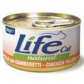 Консервы для кошек с курицей и креветками в бульоне