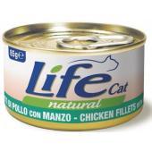 Консервы для кошек с курицей и говядиной в бульоне