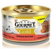 Консервы для кошек Gourmet Gold нежные биточки с говядиной и томатом,