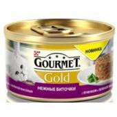 Консервы для кошек нежные Gourmet Gold биточки с ягненком и фасолью