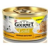 Консервы для кошек нежные Gourmet Gold биточки с курицей и морковью