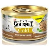 Консервы для кошек нежные Gourmet Gold биточки с индейкой и шпинатом,