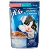 Кусочки в желе для кошек с лососем и форелью