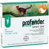 Капли Профендер для кошек до 2,5кг от глистов, 2пипетки