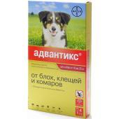 Адвантикс Капли для собак 10-25кг от блох, клещей, 4 пипетки