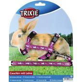 Шлейка с поводком для кроликов, нейлон с рисунком (6263)