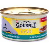 Кусочки в соусе Gourmet Gold с курицей и лососем для кошек