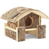 Домик на помосте для грызунов, неокоренное дерево, 15*14*14 см (Ди-04700)