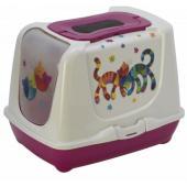 Туалет-домик Trendy cat с угольным фильтром и совком, 57х45х43, Друзья навсегда, ярко-розовый