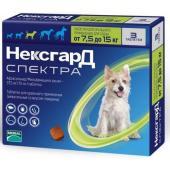 НексгарД Спектра от блох, клещей и глистов, таблетки жевательные для собак  7,5-15 кг 3 таб.