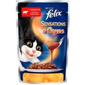 Sensations кусочки в соусе для кошек Говядина с томатом