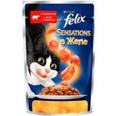 Sensations кусочки в желе для кошек  с говядиной и томатами