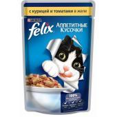 Кусочки в желе для кошек с курицей и томатами
