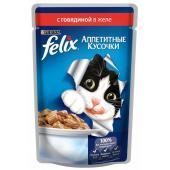 Кусочки в желе для кошек с говядиной